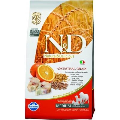 FARMINA N&D LG низкозерновой корм для собак крупных пород Треска с Апельсином (N&D Low Grain Codfish & Orange Adult)