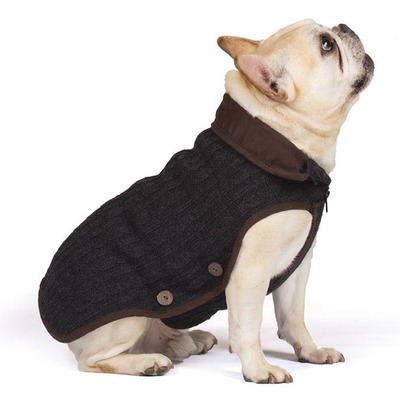 Вязаная нано куртка (свитер) Nano Knit Sweater Dog Gone Smart , цвет серый с коричневым (фото)