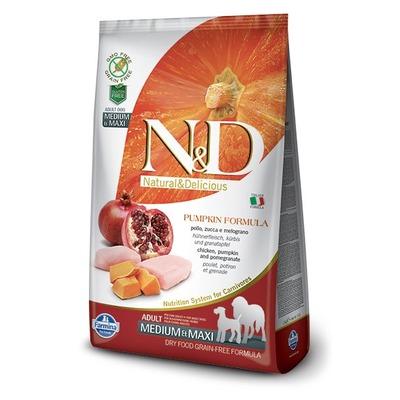 FARMINA N&D беззерновой корм для собак средних и крупных пород Курица с Гранатом и Тыквой медиум и макси (N&D Dog GF Pumpkin Chicken & Pomegranate Adult Medium & Maxi)