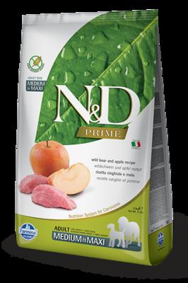 FARMINA N&D PRIME беззерновой корм для собак крупных пород Мясо дикого кабана с Яблоком макси (N&D Boar & Apple Adult)