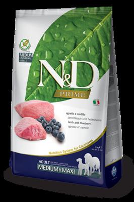 FARMINA N&D PRIME беззерновой корм для собак крупных пород Ягненок с Черникой макси (N&D Lamb & Blueberry Adult maxi)