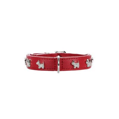 Скидка! Ошейник Hunter Modern Art Scotty Mini, красный с собачками, 19,5-23,5 см, шир. 1,6 см