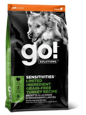 GO! NATURAL Holistic беззерновой для щенков и собак с индейкой для чувствительного пищеварения, Sensitivity + Shine LID Turkey Dog Recipe