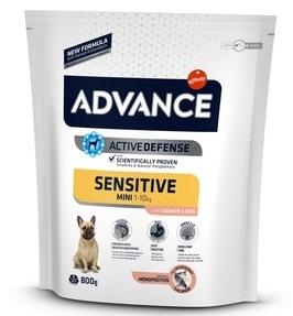 Advance Mini Sensitive сухой корм для собак малых пород с чувствительным пищеварением: лосось и рис