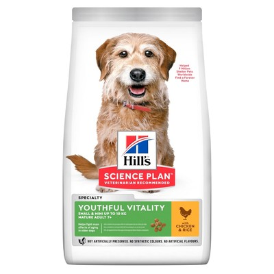 Hill`s Canine Adult 7+ сухой корм для собак мелких пород старше 7 лет, курица и рис Youthful Vitality Mini with Chicken & Rice