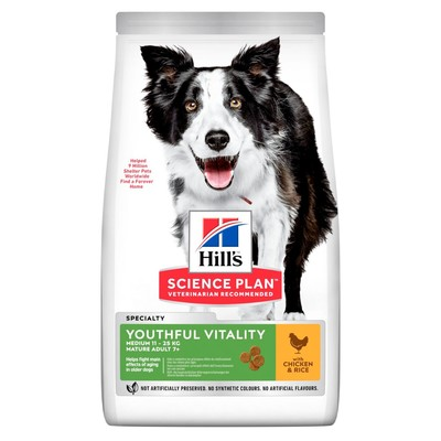 Hill`s Science Plan™ Canine Adult 7+ сухой корм для собак средних пород старше 7 лет, курица и рис Youthful Vitality Medium Breed with Chicken & Rice