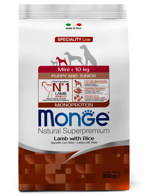 Monge Dog Speciality Mini корм для щенков мелких пород ягненок с рисом и картофелем (фото)