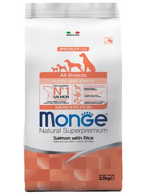 Monge Dog Speciality корм для щенков всех пород лосось с рисом (фото)