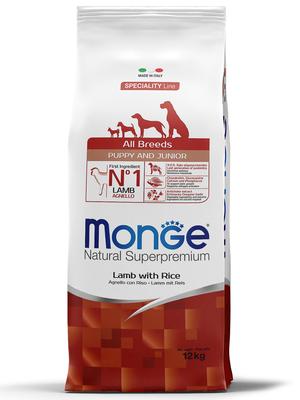 Monge Dog Speciality корм для щенков всех пород ягненок с рисом и картофелем (фото)