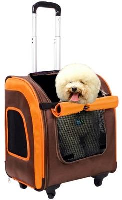 Ibiyaya многофункциональная тележка-трансформер (сумка-тележка-рюкзак) Liso для кошек и собак (Parallel Transport Pet Carrier), коричневая с оранжевым (Ибияйя) (фото)