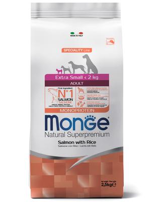 Monge Dog Monoprotein Extra Small корм для взрослых собак миниатюрных пород лосось с рисом (фото)