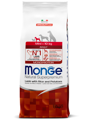 Monge Dog Speciality Mini корм для взрослых собак мелких пород ягненок с рисом и картофелем (фото)