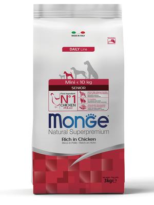 Monge Dog Mini корм для пожилых собак мелких пород с курицей и рисом, упаковка 3 кг