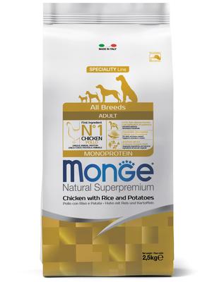Monge Dog Speciality корм для собак всех пород курица с рисом и картофелем (фото)