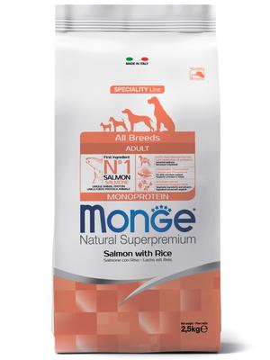 Monge Dog Speciality корм для собак всех пород лосось с рисом (фото)
