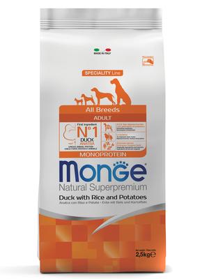 Monge Dog Speciality корм для собак всех пород утка с рисом и картофелем (фото)