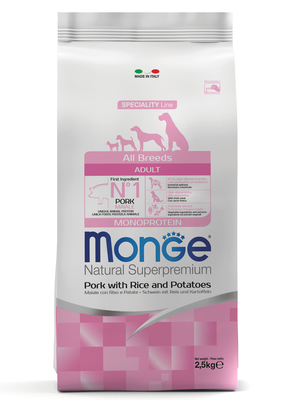 Monge Dog Speciality корм для собак всех пород свинина с рисом и картофелем (фото)