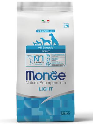 Monge Dog Speciality Light корм для собак всех пород низкоколорийный лосось с рисом (фото)