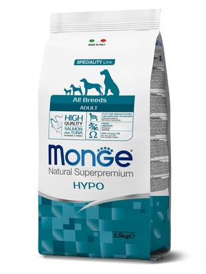 Monge Dog Speciality Hypo корм для взрослых собак гипоаллергенный лосось с тунцом (фото)
