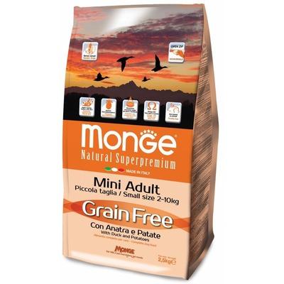 Monge Dog GRAIN FREE беззерновой корм для взрослых собак мелких пород утка с картофелем, 2.5кг