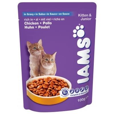 Iams® Kitten&Junior с курицей в соусе, 22 шт. х 100 гр.
