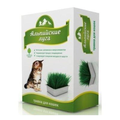 """Травка для кошек """"Альпийские луга"""" в лоточке, 120 гр."""