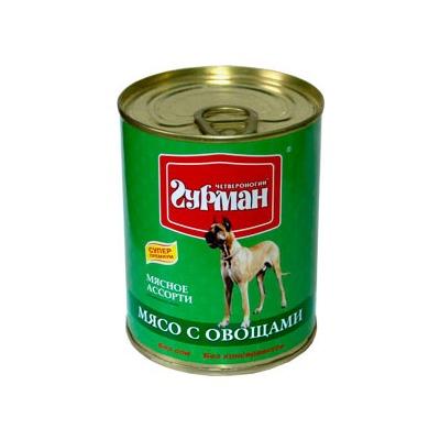 Четвероногий гурман консервы Мясное ассорти для собак мясо с овощами, 340 гр.