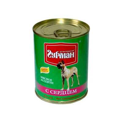 Четвероногий гурман консервы «Мясное ассорти» с сердцем для собак