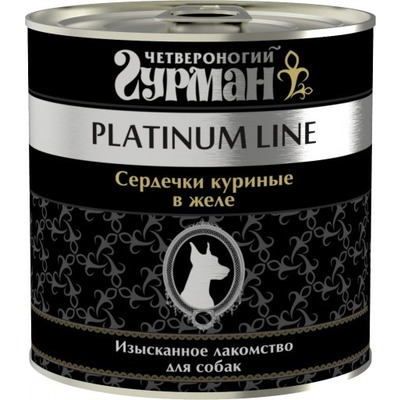 Четвероногий гурман консервы Platinum line Сердечки куриные в желе