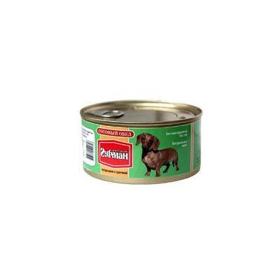 Четвероногий гурман консервы «Готовый обед» потрошки с гречкой, 325 гр.