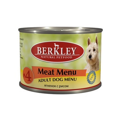 Berkley №4 ягнёнок с рисом, консервы для взрослых собак, 200 гр.