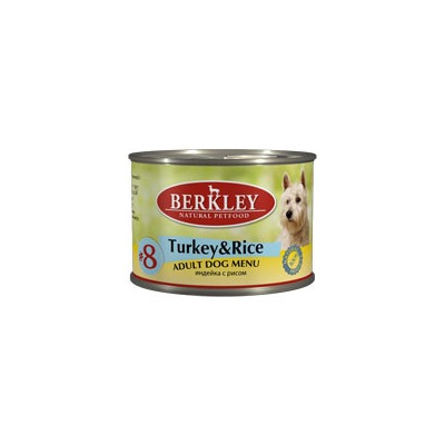 Berkley №8 индейка с рисом, консервы для взрослых собак, 200 гр.
