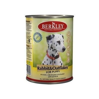 Berkley кролик с овсянкой, консервы для щенков, 400 гр.