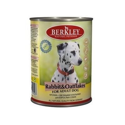 Berkley кролик с овсянкой, консервы для взрослых собак, 400 гр.