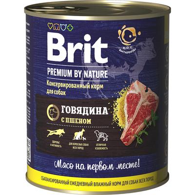 Brit Premium by Nature Консервы с говядиной и пшеном для взрослых собак всех пород, 850 гр.
