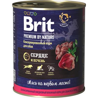 Brit Premium by Nature Консервы с сердцем и печенью для взрослых собак всех пород, 850 гр.