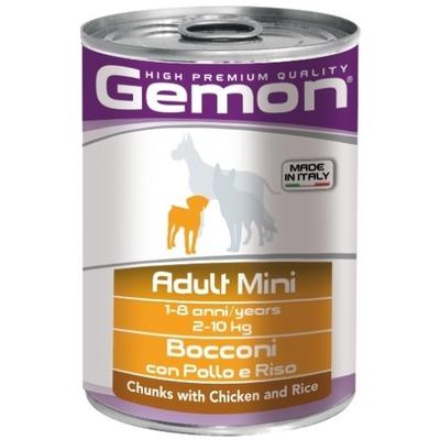 Gemon Dog Mini консервы для собак мелких пород кусочки курицы с рисом 415 гр.