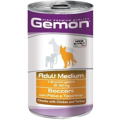 Gemon Dog Medium консервы для собак средних пород кусочки курицы с индейкой 1250г