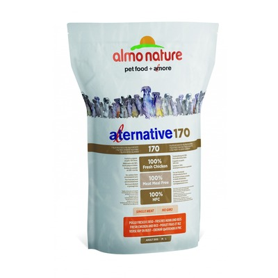Almo Nature Alternative корм (75% мяса) со свежим цыпленком и рисом для собак средних и крупных пород, Alternative 170 Chicken and Rice M-L