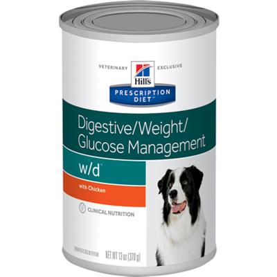 Hill`s W/D диетический консервированный корм для лечения сахарного диабета, запоров, колитов, контроль веса, Prescription Diet™ Canine w/d™, 370 гр.