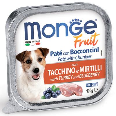 Monge Dog Fruit консервы для собак индейка с черникой 100 г (фото)