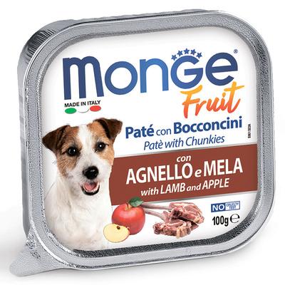 Monge Dog Fruit консервы для собак ягненок с яблоком 100 г (фото)