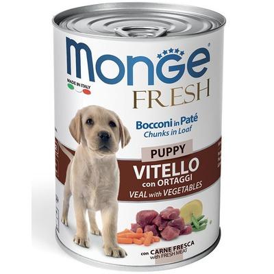 Monge Dog Fresh Chunks in Loaf консервы для щенков мясной рулет, телятина с овощами 400г (фото)