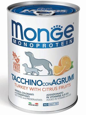 Monge Dog Monoproteino Fruits паштет из индейки с цитрусовыми 400 г (фото)