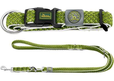 Hunter комплект: ошейник Hilo Vario Plus (40-60 см) + перестежка Hilo (2 м х 2 см), цвет лайм (фото)