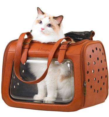 Ibiyaya складная сумка-переноска для кошек и собак до 6 кг Portico Deluxe Leather Pet Transporter, прозрачная с коричневой кожей (фото)
