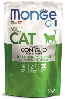Monge Cat Grill Pouch паучи кусочки в желе из итальянского кролика для взрослых кошек 85г (фото)