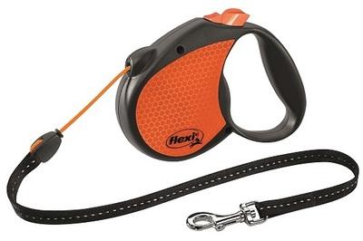 Flexi Limited Edition Neon Reflect M тросовый поводок-рулетка 5 м для собак до 20 кг, цвет оранжевый (фото)