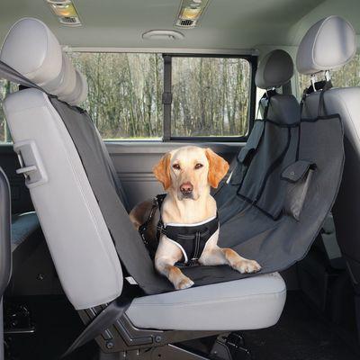 Trixie чехол-гамак для перевозки собак в автомобиле, с кармашками, 140*145 см, цвет коричнево-серый (фото)