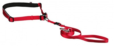 Trixie пояс для бега с собакой с поводком для мелких и средних пород собак, цвет красный (фото)